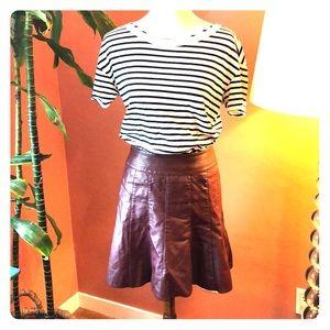 ANTHRO vegan leather maroon skirt